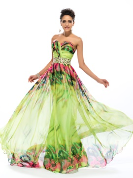 Sweetheart A-Line Floral Printing Beading Long Prom Dress & fairytale Prom Dresses