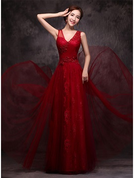 Wonderful V-Neck Lace Appliques Sequins Long Prom Dress & Prom Dresses from china