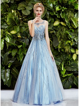 Luxurious Scoop Neckline Beadings Sleeveless A-Line Long Prom Dress & petite Prom Dresses