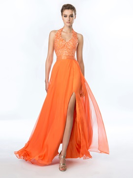 Delicate Halter A-Line Appliques Beading Split-Front Long Prom Dress & inexpensive Prom Dresses