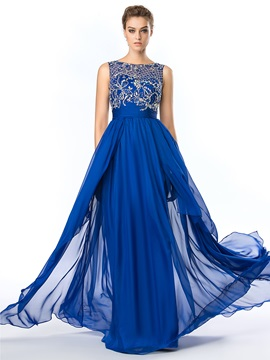 Delicate Bateau Neckline Beading Chiffon Floor Length Prom Dress & Prom Dresses under 300