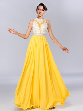 Delicate Jewel Neck Appliques Sequins A-Line Long Evening/Prom Dress & Prom Dresses under 500