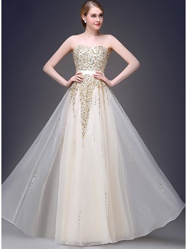 Bright Sweetheart Beading Strapless A-Line Long Prom Dress & Prom Dresses for sale