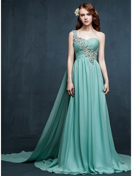 A-Line One-Shoulder Crystal Watteau Train Long Prom Dress & romantic Prom Dresses