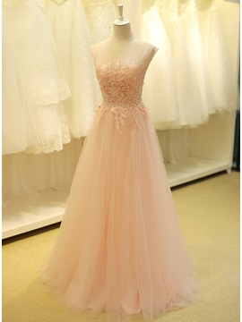 Tidebuy Dramatic Scoop Neck Beading Lace A-Line Long Prom Dress & colored Prom Dresses