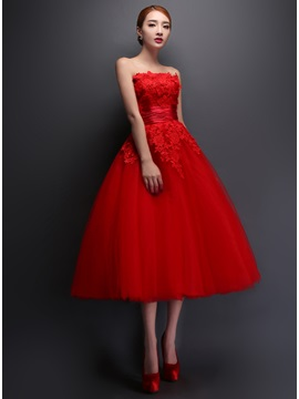 Tidebuy Strapless Lace A-Line Tea-Length Prom Dress & Prom Dresses under 500