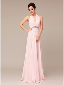 Tidebuy Delicate Halter Beading A-Line Long Prom Dress & colored Prom Dresses