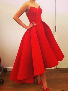 Real Pictures Strapless A-Line High Low Red Prom Dress & Prom Dresses under 500