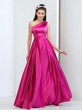 Simple One Shoulder Bowknot A-Line Long Prom Dress & Prom Dresses from china