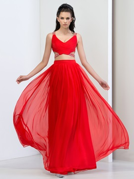 Fashion V-Neck Straps Beaded Sequins Hollow Long Red Prom Dress & petite Prom Dresses