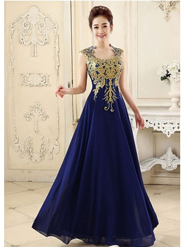 Pretty A-Line Straps Embroidery Zipper-up Long Prom Dress & inexpensive Prom Dresses
