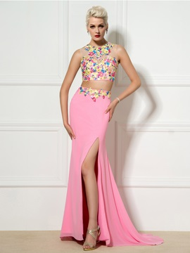 New Style Two Pieces Jewel Neck Appliques Beaded Split-Front Long Prom Dress & unusual Prom Dresses