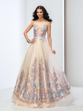 Glamorous Straps Sheer Neck Appliques A-Line Lace-up Long Tulle Prom Dress & petite Prom Dresses