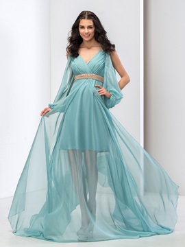 Delicate V-Neck A-Line Sleeves Pearls Pleats Court Train Long Prom Dress & fairy Prom Dresses
