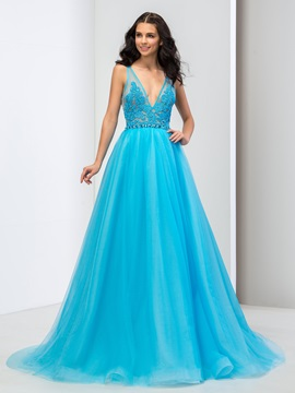Amazing Deep V-Neck Lace Crystal Backless Long Prom Dress & vintage style Prom Dresses