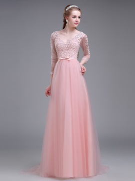 Dramatic V-Neck 3/4-Length Sleeve Appliques Long Prom Dress & Prom Dresses for less