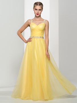 Fancy Straps A-Line Sequins Beading Tulle Prom Dress & Prom Dresses under 500