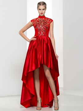 Vintage High Neck Appliques High Low Red Lace Prom Dress & Prom Dresses from china
