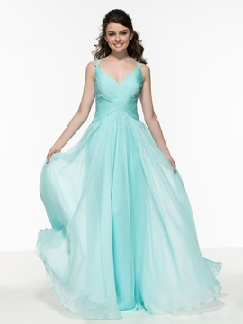 A-Line Straps Pleats Hollow Cheap Prom Dress & Prom Dresses online