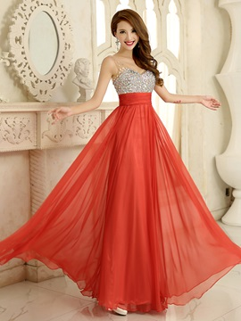 Pretty V-Neck Straps Crystal A-Line Long Prom Dress & fashion Prom Dresses