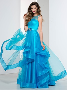 Fashionable Straps Tiered Beading Long Prom Dress & elegant Prom Dresses