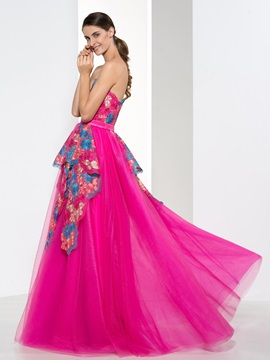 Fashionable Sweetheart Appliques Rulles Long Prom Dress & vintage style Prom Dresses