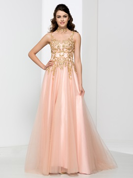 High Neck Appliques Beading Button Prom Dress & Prom Dresses under 100