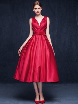 Casual V-Neck Bowknot Backless Tea-Length Prom Dress & modest Prom Dresses