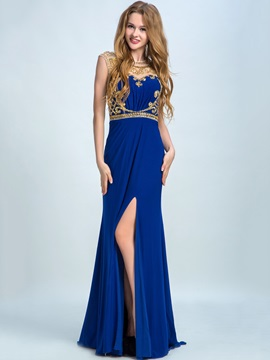 Attractive Jewel Neck Beading Split-Front Long Prom Dress & elegant Prom Dresses