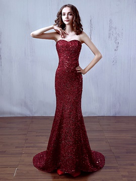 Shining Sweetheart Sequins Lace-Up Mermaid Evening Dress & vintage Prom Dresses