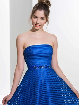 Strapless A-Line Beading Long Prom Dress & attractive Prom Dresses