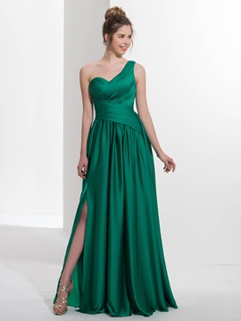 Casual One Shoulder Pleats Appliques Button Prom Dress & Prom Dresses under 300