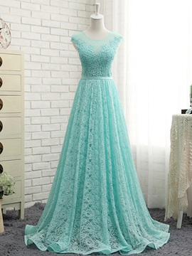 Fancy Sheer Neck Cap Sleeves Lace Prom Dress & fashion Prom Dresses