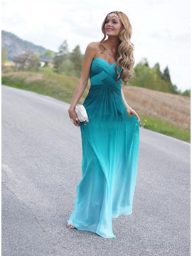 Modern Sweetheart Beading Fading Color Long Prom Dress & cheap Prom Dresses