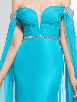 Off the Shoulder Sequins Beading Watteau Train Prom Dress & Prom Dresses from china