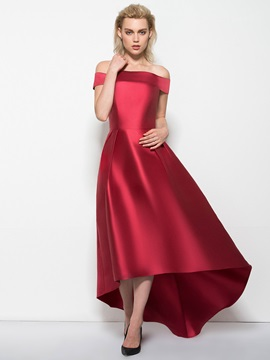 Simple Off the Shoulder Cap Sleeve High Low Prom Dress & modern Prom Dresses