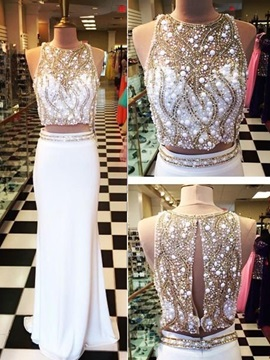Luxurious Jewel Neck Beading Two Pieces Prom Dress