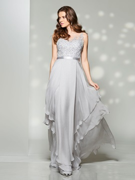 Nice A-Line Scoop Appliques Sashes Floor-Length Prom Dress & inexpensive Prom Dresses