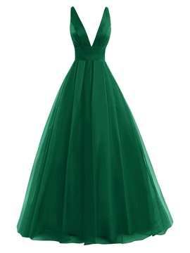 Simple A-Line V-Neck Pleats Floor-Length Prom Dress & Prom Dresses on sale
