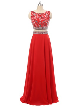 Gorgeous Two Pieces A-Line Scoop Beading Crystal Long Prom Dress