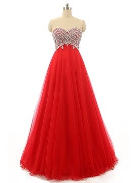 Pretty A-Line Sweetheart Beading Crystal Long Prom Dress & Prom Dresses on sale