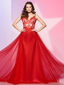 Fancy A-Line Spaghetti Appliques Button Watteau Train Prom Dress & quality Prom Dresses