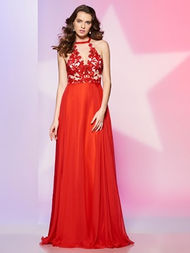 Exquisite A-Line Halter Appliques Beading Floor-Length Prom Dress & petite Prom Dresses