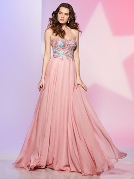 Nice A-Line Sweetheart Appliques Sweep Train Prom Dress & Prom Dresses under 500