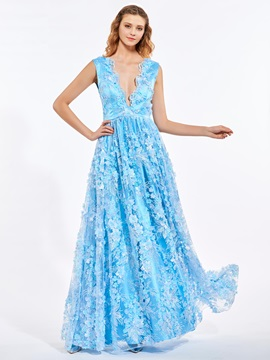 Lovely A-Line V-Neck Lace Flowers Pearls Floor-Length Prom Dress
