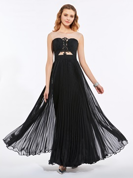 Unique Scoop A-Line Appliques Pleats Sweep Train Prom Dress