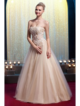 Glamorous Strapless Floor-Length Appliques A-Line Yana's Prom/Quinceanera Dress & Prom Dresses under 100