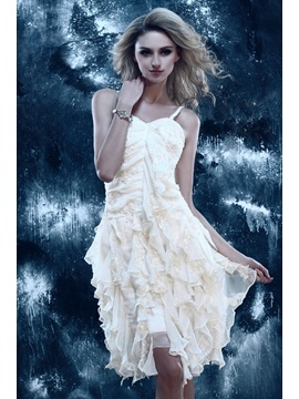 Modern Spaghetti Straps Appliques Cascading Ruffles Short-Length Dasha's Homecoming Dress & Homecoming Dresses under 100