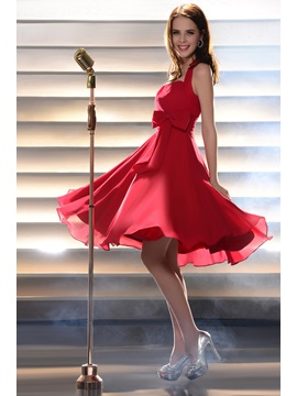 Lovely A-Line Bowknot Halter Mini Length Homecoming Dress & Homecoming Dresses under 100
