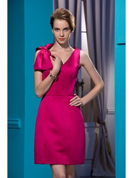 Popularable Sheath/Column Sleeveless Bowknot Short-Length Cocktail Dress & fashion Homecoming Dresses